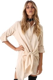 dress,tie front shirt dress,tie front dress,tie front shirt,white dress,three quarter sleeve dress