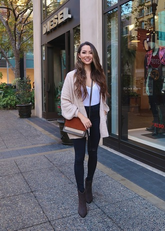 jessica r. hapa time - a california fashion blog by jessica blogger cardigan top bag shoes crossbody bag winter outfits ankle boots skinny jeans