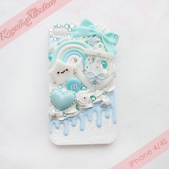 phone cover dripping diamonds kawaii iphone case blue light blue