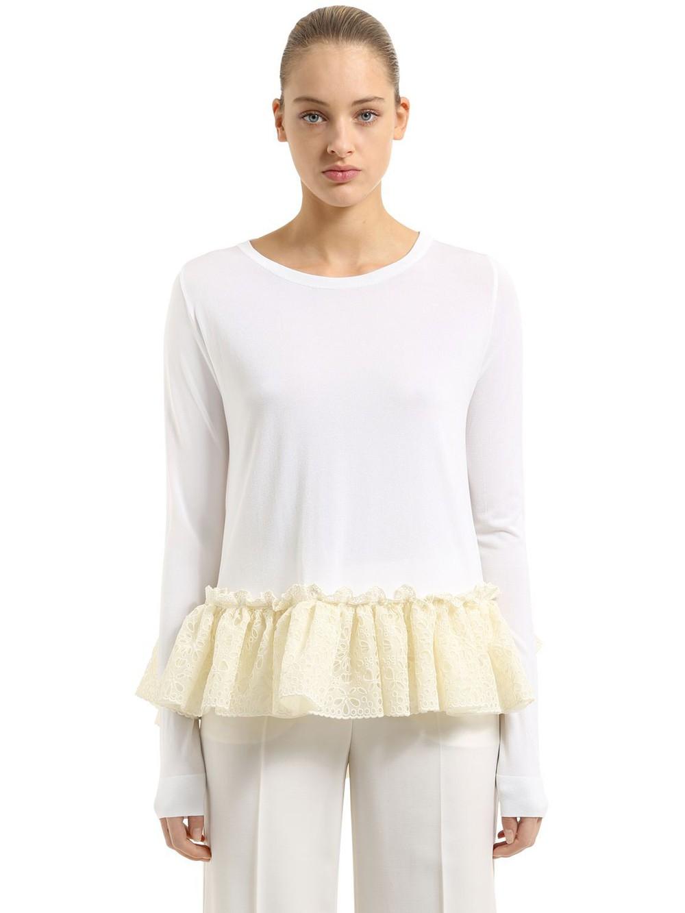 ANTONIO BERARDI Knit Sweater With Ruffled Lace Hem in white