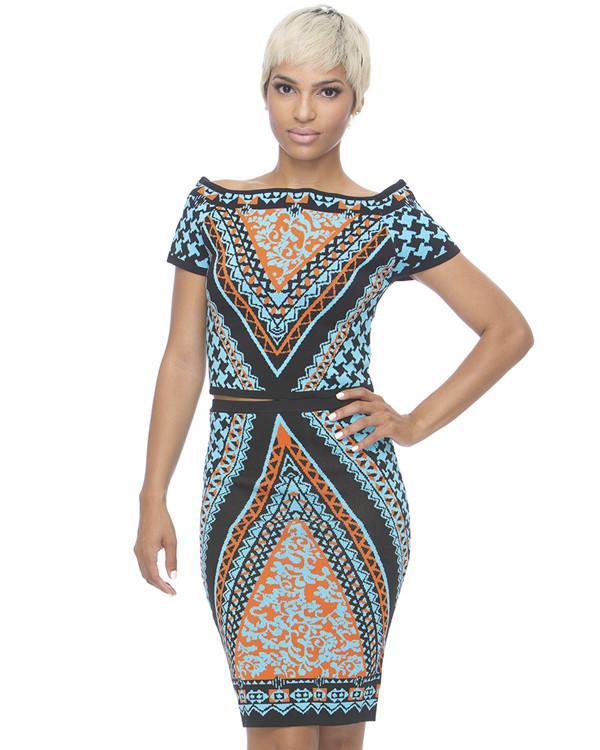 top outfit set tribal skirt tribal crop top midi skirt tribal pattern