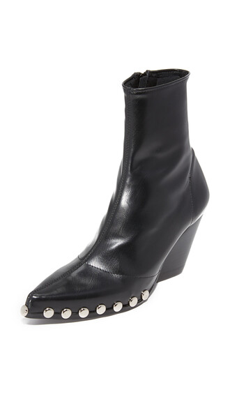studded booties silver black shoes