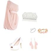 dress,one shoulder,party dress,light pink,jewels