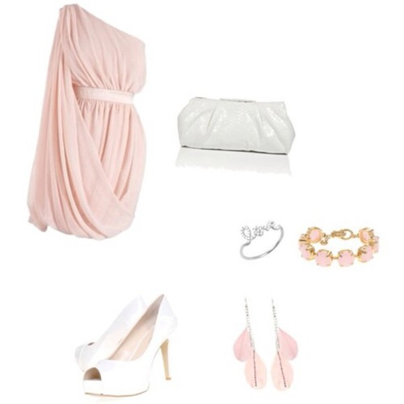 dress one shoulder party dress light pink