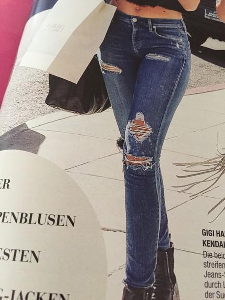 jeans blue skinny jeans ripped skinny jeans gigi hadid