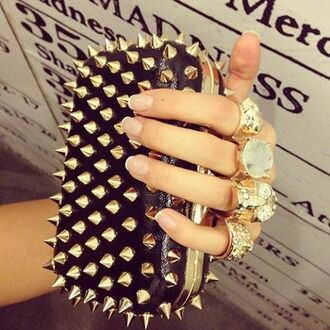 bag badass clutch spikes gold black ring clutch rebel skull skull ring