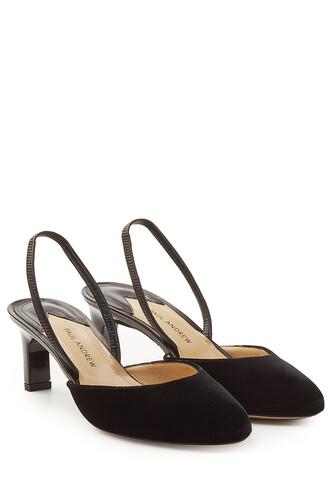 heel pumps velvet black shoes