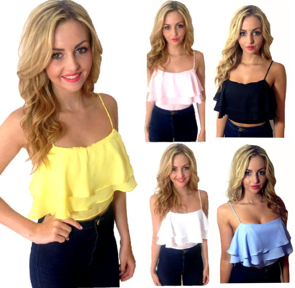 NEW WOMENS FRILL FRILLY RUFFLE RA RA CROP CAMI TOP SWING SLEEVELESS STRAPPY | eBay
