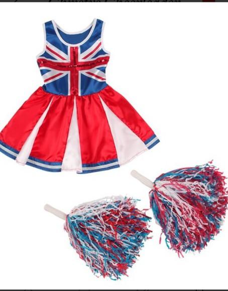 union jack london fancy dress britian cheerleader pom pom shorts