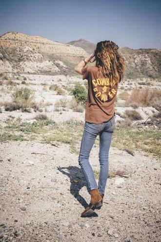 jeans high waisted shirt boots western ankle boots boho bohemian skinny jeans