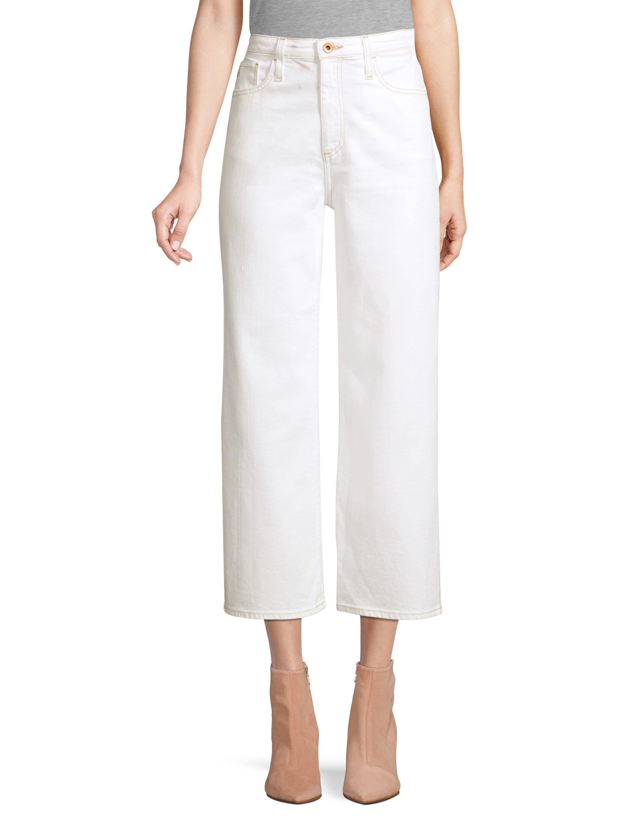 AG Jeans - White Etta High-rise Wide-leg Crop Jeans - Lyst
