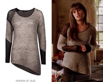 sweater gray sweater glee rachel berry lea michele blouse