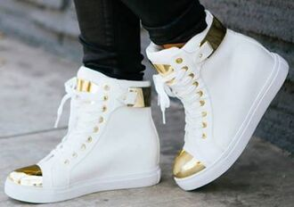shoes gold shiny shiny shoes white high heels high top sneakers lace up