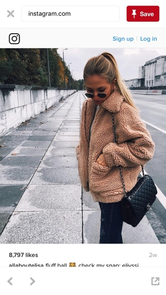 coat fur fur coat brown teddy teddy jacket jacket fur jacket