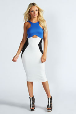Katherine Colour Block Cut Out Bodycon Midi Dress at boohoo.com