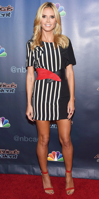 dress heidi klum striped dress sandals mini dress belt