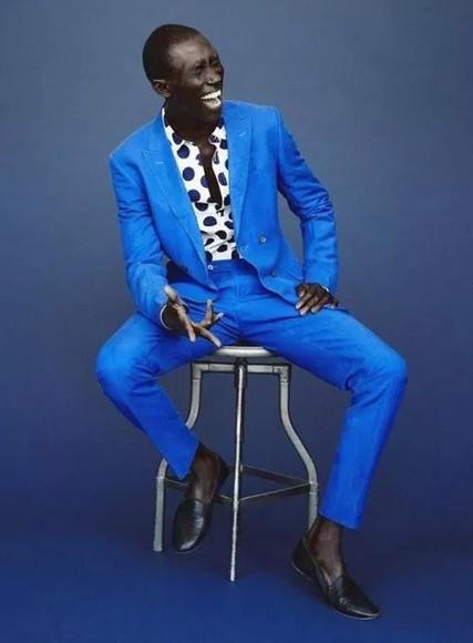 polka dots menswear blue polka dot suit pharrell williams blue elegant loafers