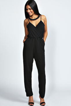 Rhiannah Plunge Front Wrap Over Cami Jumpsuit at boohoo.com
