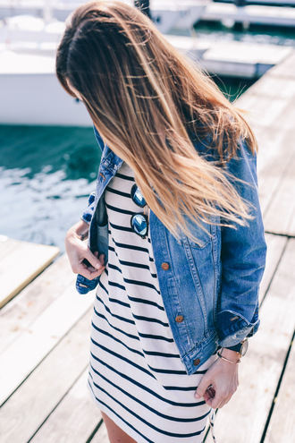 dress tumblr mini dress stripes striped dress spring outfits spring dress jacket blue jacket denim jacket black watch watch bracelets gold bracelet jewels jewelry gold jewelry ombre hair long hair hair hairstyles