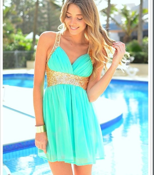 dress homecoming dress baby blue gold sequins turquoise dress chiffon dress white dress tourquise v neck strap sequins backless dress light blue dress with gold sequins