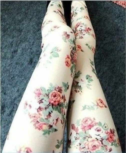 pants lovely flowers floral floreal white rose roses nice tights cute summer fashion floral floral leggings