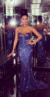 dress,long blue strapless sequin mermaid dress
