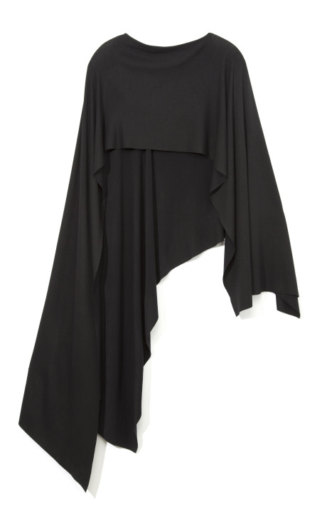 Asymmetrical cape in black by donna karan