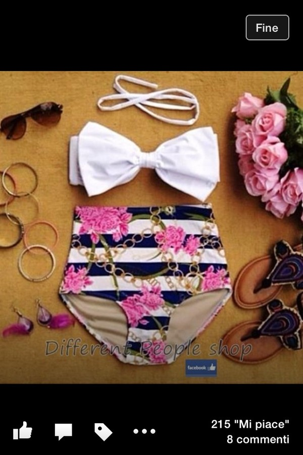 swimwear bow vintage rose flowers swimwear