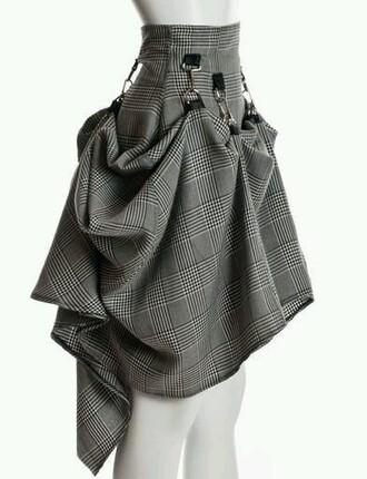 tartan skirt tartan straps strappy steampunk folds mini skirt skater skirt corset