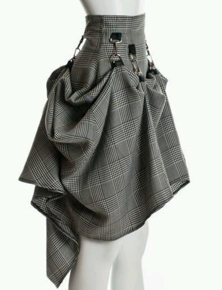 corset tartan skirt tartan straps strappy steampunk folds mini skirt skater skirt