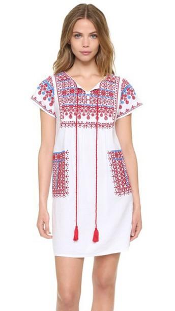 bdf92e7ec Star Mela Lina Embroidered Dress - White/Red/Blue - Wheretoget