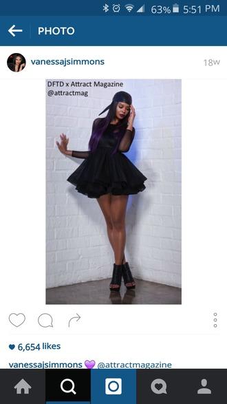dress black dress short dress skater dress skater skirt mesh mesh dress long sleeves long sleeve dress