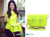 bag,cambridge,satchel,fluoro,yellow bag,shoulder bag,satchel bag