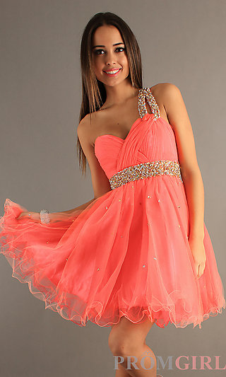 Dave & Johnny One Shoulder Prom Dress, Short Ball Gown- PromGirl