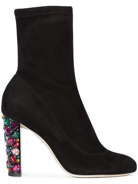 women embellished leather suede black shoes