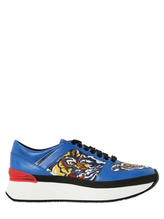 sneakers leather neoprene blue shoes