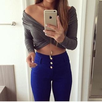 top grey iphone blue crop tops jeans