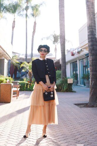 hallie daily blogger skirt bag sunglasses fall outfits beret midi skirt mini bag dior bag