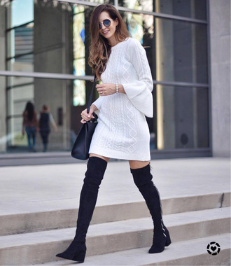 sweater tumblr white sweater sweater dress knit knitted dress boots black boots ankle boots bag black bag sunglasses shoes