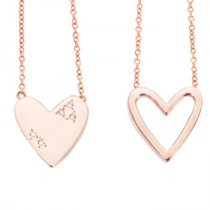 Open and Closed Heart Necklace by Alexa Leigh | Charm & Chain