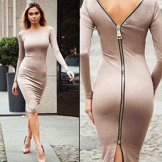 dress sexy nude open back midi dress fashion style trendy long sleeves feminine musheng