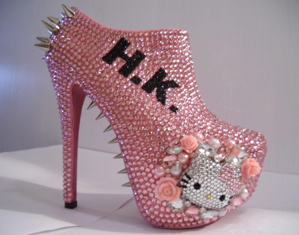 Hello Kitty Spiked Rhinestone Ankle Booties 3D Bad Kitty | eBay