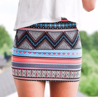 skirt aztec colourful bodycon