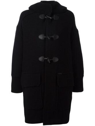 coat duffle coat women classic black wool
