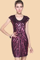 dress,fuchsia sequins cap sleeve geometric pattern dress,fuchsia dress,cap sleeve dress,geometric pattern dress,party dress,sequins dress