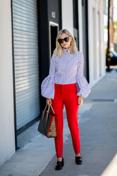 late afternoon,blogger,blouse,pants,shoes,bag,sunglasses,jewels,striped shirt,bell sleeves,red pants,handbag,gucci shoes,gucci