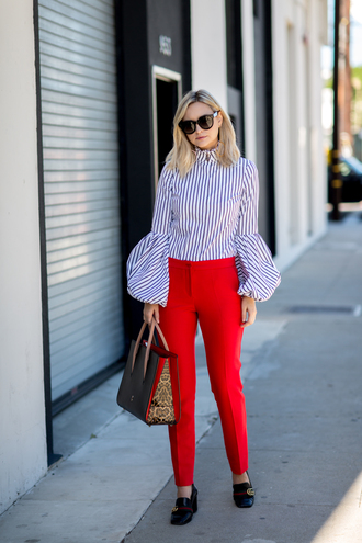 late afternoon blogger blouse pants shoes bag sunglasses jewels striped shirt bell sleeves red pants handbag gucci shoes gucci