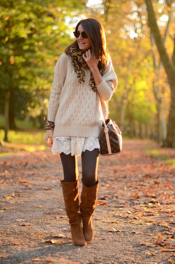 fall outfits boot outfit oversized sweater brown leather boots tights scarf shoes