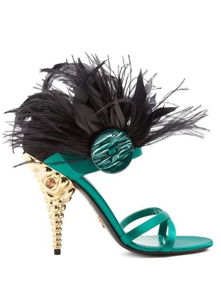 embellished sandals satin green shoes