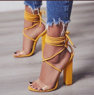 shoes yellow mustard heels clear strappy see through strappy heels